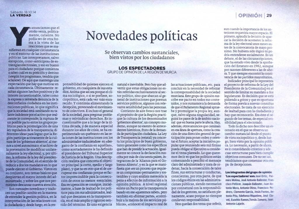 Novedades politicas. Articulo de Los Espectadores en Diario La Verdad